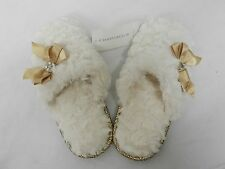 CHARTER CLUB SLIPPERS, SCULPTED PILE SCUFF WHITE SZ S&M L XL RV$30