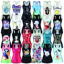 Hot Digital Printing Sexy Mini Stretch Skirt Tight Vest Party Dress Free Size