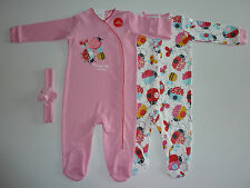 NEXT 2 Gorgeous Little BUG Sleepsuits with Matching Headband NWT