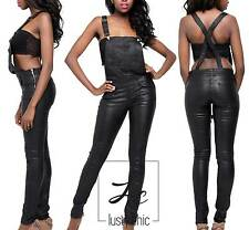 NEW LADIES BLACK LEATHER LOOK DUNGAREES PLAYSUIT JUMPSUIT WITH ZIPS 6 8 10 12 14