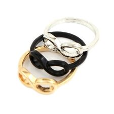 """Vintage Jewelry Gold Silver Black Plated Infinity Symbol """"8""""  Finger Ring Size 7"""
