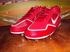 NIKE ZOOM GRIT LOW METAL BASEBALL CLEATS RED / WHITE RARE COLOR