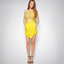 Three Floor Style Womens Celeb Style Floral Lace Contrast Midi Dress M09# Yellow