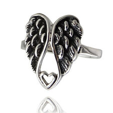 Angel Wing Heart Ring - 925 Sterling Silver - Angel Wings Ring Heart Jewelry NEW
