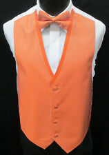 Mandarin Orange Fullback Tuxedo Vest & Tie Prom Wedding Formal *Free Shipping* M