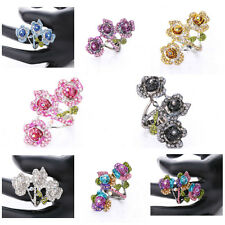 Delicate Stretchy Ring Flower Design Crystal Rhinestone Studded Charming Jewelry