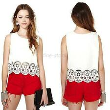 Women's Cropped Floral Chiffon Short Top Girl's White Vest Tops Shirts Size S-XL