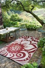 Fab Habitat Indoor Outdoor Rug Maui Cranberry Red & Cream Floral, Choose Size