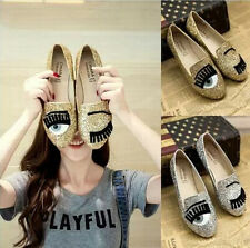 Young women shoes different big eyes Paillette flats loafer