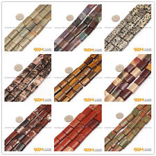 Natural 15X20mm Assorted Stones Rectangle Tube Beads For Jewelry Making 15""