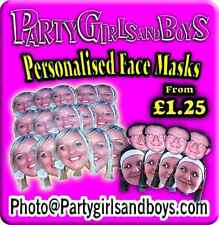 FULLY CUT READY TO WEAR FACE MASKS PERSONALISED PHOTO FUNNY PARTY HEN STAG NIGHT