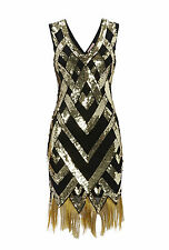 UK6 TO UK30 Black Gold Vintage 1920s Flapper Gatsby Downton Abbey Beaded Dress