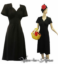 New Black Slinky Plus Size Vtg Retro WW2 Land girl 1940s Pin-up Tea Dress