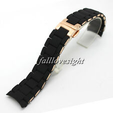 New 20 23 mm Black Silicone Rubber Wrapped Stainless Steel Watch Band Curved End