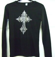 Rhinestone Cross Shirt Long Sleeve Black Bling Bay Beauty Women's S ML XL