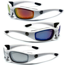 WHITE SOFT TOUCH MOTORCYCLE RIDING GOGGLES PADDED SPORTS BIKER MIRROR SUNGLASSES