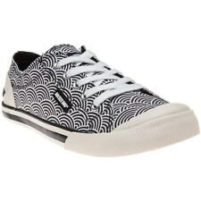 New Womens Rocket Dog Black White Jazzin Canvas Trainers Lace Up
