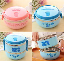 Lovely Cat Kids Bento Box 2 layer Stainless Steel Thermal Insulation Lunch Box