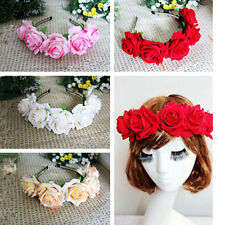 1PC 4 Colors Handmade Floral Crown Rose Headband Flower Wedding Hair Garland New