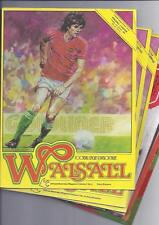 Walsall Home Football Programmes 1980/81 to 1985/86