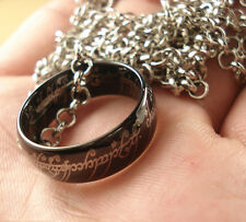 New Cool Black Band Tungsten Carbide LOTR Rings Pendant Width 8mm With Chain