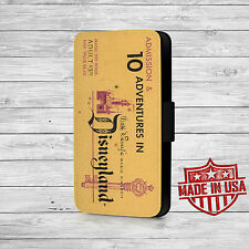 Disney Land Vintage Ticket Leather Wallet Case For iPhone and Galaxy