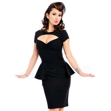 Steady Clothing Emma Peplum Dress Rockabilly Pin Up Pencil Bombshell Retro