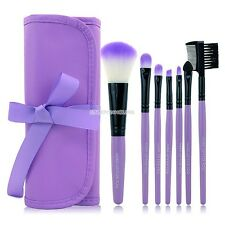 7PCS Professional Makeup Tool Cosmetic Soft Brush Set Kit Pink/ Purple+Pouch Bag