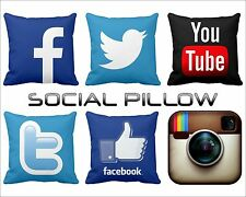 "14"" Satin Hold Cushion Case Social Network Pillow face selfie You Tube twitter"