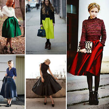 Celeb Retro High Waisted Full Circle Skirt Pleated Midi Skater Neon Color