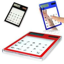 New Solar Touch Screen LCD 8 Digit Electronic Transparent Calculator JMHG