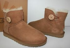 Ugg Mini Bailey Button Chestnut Suede women's boots New In Box!