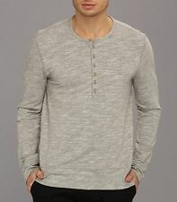JOHN VARVATOS STAR USA - more sizes - Long Sleeve Grey HT Henley $128 msrp - NWT
