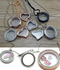 New Living Floating Memory Charm Glass Heart Magnetic Locket Pendant Necklace