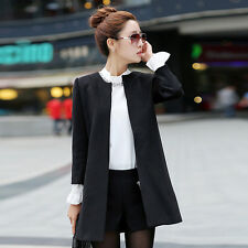 New Womens Black Winter Autumn Wool Blend Jacket Elegant Cardigan Slim Coat