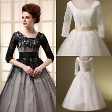 3/4 Long Sleeves Women Wedding Formal Tea Length Black Lace Prom Party Dresses