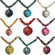 Antique Coloful Resin Glass Beads Oval Rhinestone Crystal Pendant Chain Necklace