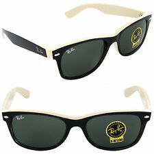 Ray-Ban RB 2132 875 New Wayfarer Top Black on Beige / Crystal Green 52 or 55mm