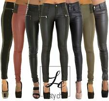 NEW LADIES WOMEN BLACK FAUX LEATHER LEGGINGS JEGGINGS TROUSERS SIZE 6 8 10 12 14