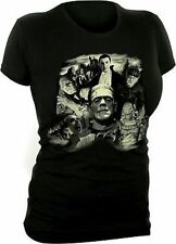 UNIVERSAL MONSTERS COLLAGE DRACULA FRANKENSTEIN WOLFMAN WOMENS T TEE SHIRT S-XL