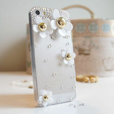 3D Flower Luxury Bling Gem Diamond Crystal Case Cover For iPhone 5C 5 5S 4 4S