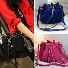 Fashion Womens Suede Leather Bag Lady Style Tote Tassel Bucket Shoulder Handbag
