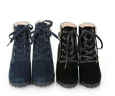 Korea style women fashion Martin boots round-toe Mid-heel casual ankle