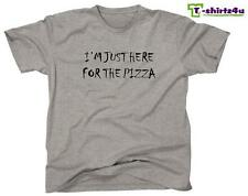 I'M JUST HERE FOR THE PIZZA - Funny Geek Party Tee - Mens T-Shirt - NEW - Grey