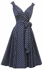 New Rosa Rosa Vintage 1950s style Navy Polka Dot Summer Party Prom Swing dress