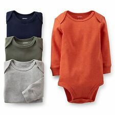 New Carter's 4 Pack Long Sleeve Solid Boy Bodysuits NWT Size NB 3 6 9 12 18 24