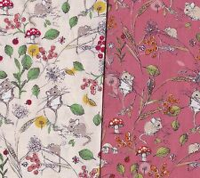 PATCHWORK/QUILTING/CRAFT FABRIC FIELD MICE BY INPRINT@MAKOWER 100% COTTON