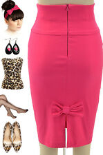 50s Style FUCHSIA High Waisted PINUP PENCIL Skirt with Back BOW Accent Detail