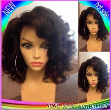 100% Indian Remy Human Hair Wig Short Natural Curly Full lace/lace front Bob wig
