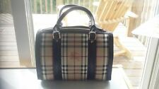 Authentic Burberry Brown leather Haymarket Bowling bag